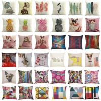 Cotton Linen Colorful Pillow Case Modern Home Car Sofa Cushion Cover Square 45cm   253401017795