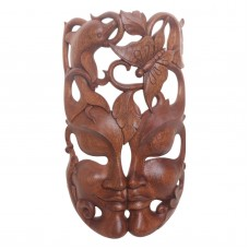 Artisan Crafted Balinese Suar Wood Wall Mask NOVICA Indonesia   312215078548