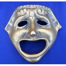 "Vintage Brass Tragedy Face Mask Greek Theater Drama Ancient Replica Hanging 6.5""   183343560883"