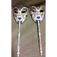 Vintage Hand Painted Mardi Gras Mask Set Shecave decorations Antique Wall Art   142904307929