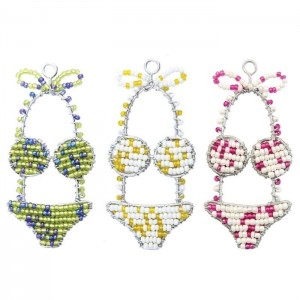 BEADWORX - BIKINI  KEYRING- BEAD WORK GRASS ROOTS GLASS BEADS   390938024115