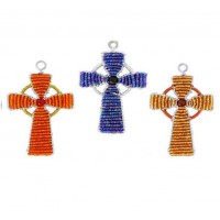 BEADWORX - STONEHENGE CROSS - KEYRING - BEAD WORK GRASS ROOTS GLASS BEADS   321303722360