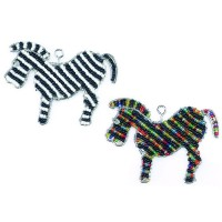 BEADWORX - ZEBRA  KEYRING - BEAD WORK GRASS ROOTS GLASS BEADS   331335170016