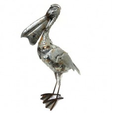 Pelican Statue Metal Garden Ornament Sculpture Art Iron Rustic Silver 40cm   263747520185