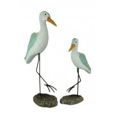 Sea Green Wood Shorebird Coastal Wader Statue Set of 2 688907770020  401545260428