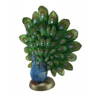 Zeckos Green Gold and Blue Sitting Peacock Showing Feathers Statue 724945156102  192523650673