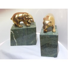 Brass Bear Bookends on a Heavy Marble base   292645897195