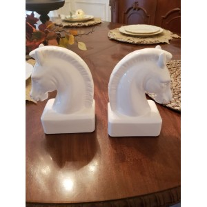 Ceramic Horse Head Bookend White Pair - 68153WHIT   123301654184