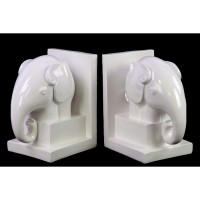 Urban Trends Ceramic Elephant Bookend on Box Stand Set of 2 Gloss, White 190563731098  372021216577