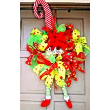 X-Large Christmas Holiday Elf Hat & Legs Deco Mesh BELIEVE Wreath Door Decor   132387384349