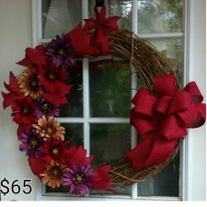 Burgundy, Beige, Purple Flowers, Burgundy Bow Grape Vine Door Wreath   372373735849