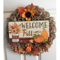 Burlap Fall Wreath    142890687014