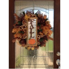 "Fall Deco Mesh Door Wreath "" FREE SHIPPING ""   112554533149"