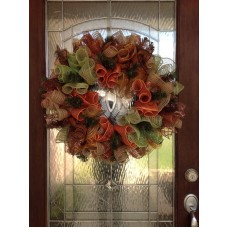 "Fall Deco Mesh Door Wreath "" FREE SHIPPING ""   112644764025"