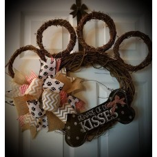Grapevine Paw Print Wreath, Beware of Dog Kisses Wreath, Dog Wreath, Everyday   253800645278