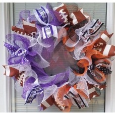 HOUSE DIVIDED FOOTBALL DECO MESH WREATH ANY 2 TEAMS   372394034105