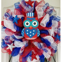 Handmade Deco Mesh Wreath American Owl Summer 4th of July Red White Blue   372313245742