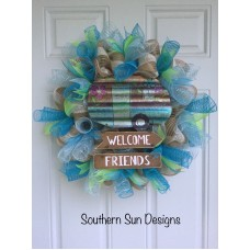 Welcome Camper Wreath Vacation Wreath Front Door Home Decor Summer Mesh   401574134435