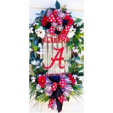 XLARGE ALABAMA CRIMSON TIDE WREATH, ALABAMA WREATHS, FALL WREATHS, COTTON WREATH   232875898687