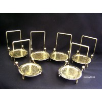 6 Tea Cup & And Saucer Stand Display Brass Tripar 23-2452 Lot of 6   202205360541
