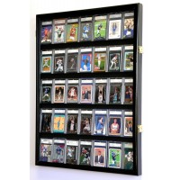 35 Graded Sport Cards / Collectible Card Display Case Wall Cabinet 98% UV Locks   371967601821