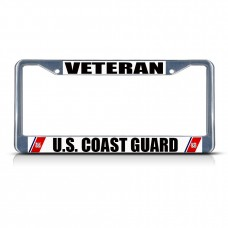 VETERAN U.S. COAST GUARD NAVY Metal License Plate Frame Tag Border Two Holes   322191219728