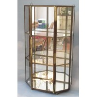 Vintage Mirrored GLASS & BRASS CURIO w/3 Shelves - Wall or Table Top Display   112751814081
