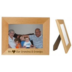 We Love Our Grandma & Grandpa Wood 5 x 7  Frame Horizontal - Can Be Personalized   400260786339