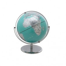 "10"" 2 Tone Revolving World Globe Table Top Turquoise & Silver Modern Style New  704551414629  281669146340"