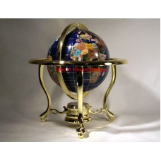 "10"" Tall Blue Lapis Ocean Table Top Gemstone World Globe with Gold Tripod 722301696071  352104516627"