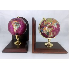 "7"" Tall pair of Pink Pearl Swirl Ocean wood base Gemstone Globe Bookend   173470415691"