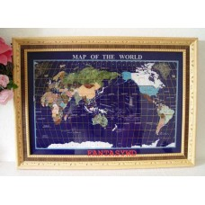 "Finest collector model, 29""  REAL STONE BOARD BLUE LAPIS GEMSTONE MAP WITH WOOD   121229554932"