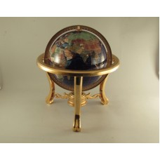 "Gemstone World Globe On Brass Stand 9"" Globe 13"" Tall   323308187603"