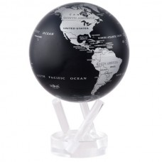 "Mova Globe 4.5"" SBE Black and Silver Metallic self rotating GLOBE   183044063412"