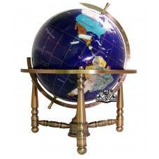 Unique Art 19-Inch Tall Blue Lapis Ocean Table Top Gemstone World Globe with Cop   172283301270