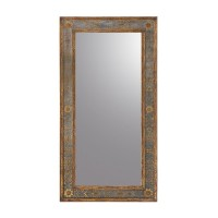 "74"" H Clear Mirror Decorated  Glass Carved Wood Frame   262539849362"