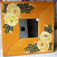 "IKEA 'MALMA' CREAM ROSES PAINTED DEEP WOODEN FRAMED SQUARE MIRROR 10"" x 10""   113190021141"