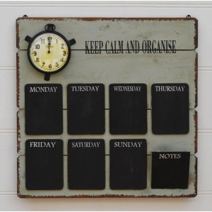 Wall Organiser - Keep Calm and Organise - Clock - Daily Message Noteboard   332328786547