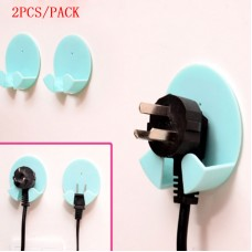 2PC/SET Power Plug Socket Jack Hook Rack Holder Hanger Home Wall Decor Organizer   172243273704