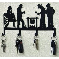 Cowboys Western Key Holder Rustic Lodge Cabin Ranch Home Wall Metal Art Decor   360825483313