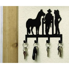 HORSE COWBOY COWGIRL KEY HOLDER WESTERN METAL ART RUSTIC LODGE CABIN HOME DECOR   370982931455