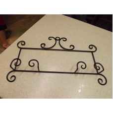 "Plate Display Rack Holder Wall 2 Plate Black Wrought Iron Horizontal- 24"" X 13""   132714638496"