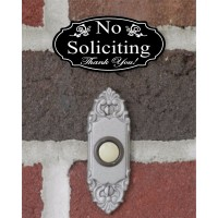 "Elegant ""No Soliciting Thank You"" Doorbell Sign - 1.5"" x 3"" FREE SHIPPING   282257466874"