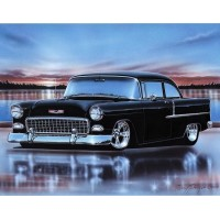 1955 Chevy 210 2 Door Sedan Hot Rod Car Art Print w/ Color Options   223072866381
