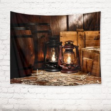 Rustic Board Ancient Lamp Barrel Tapestry Wall Hanging Living Room Bedroom Decor   142906055100