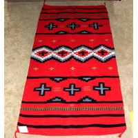 "Throw Rug /  Tapestry Southwestern Hand Woven 32x64"" New RED Acrylic 23   372402557068"