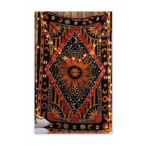 Twin Size Burning Sun Moon Stars Tapestry Wall Decor Hippie Room Decor Bed Sheet   253814010949