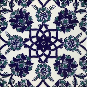 "Set of 100 8""x8"" Iznik Raised Blue Carnation Pattern Turkish Ceramic Tile   122414433976"