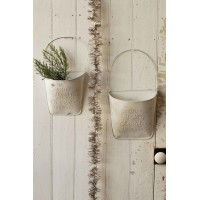 Christmas Metal Wall Pockets-Door Decor-S/2-CREAM -Primitive Rustic Galvanized    142892423402