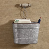 Farmhouse Tin Wall Caddy, Edgefield by Park Designs, 10x7.5, Wooden Handle 762242426726  352397181173